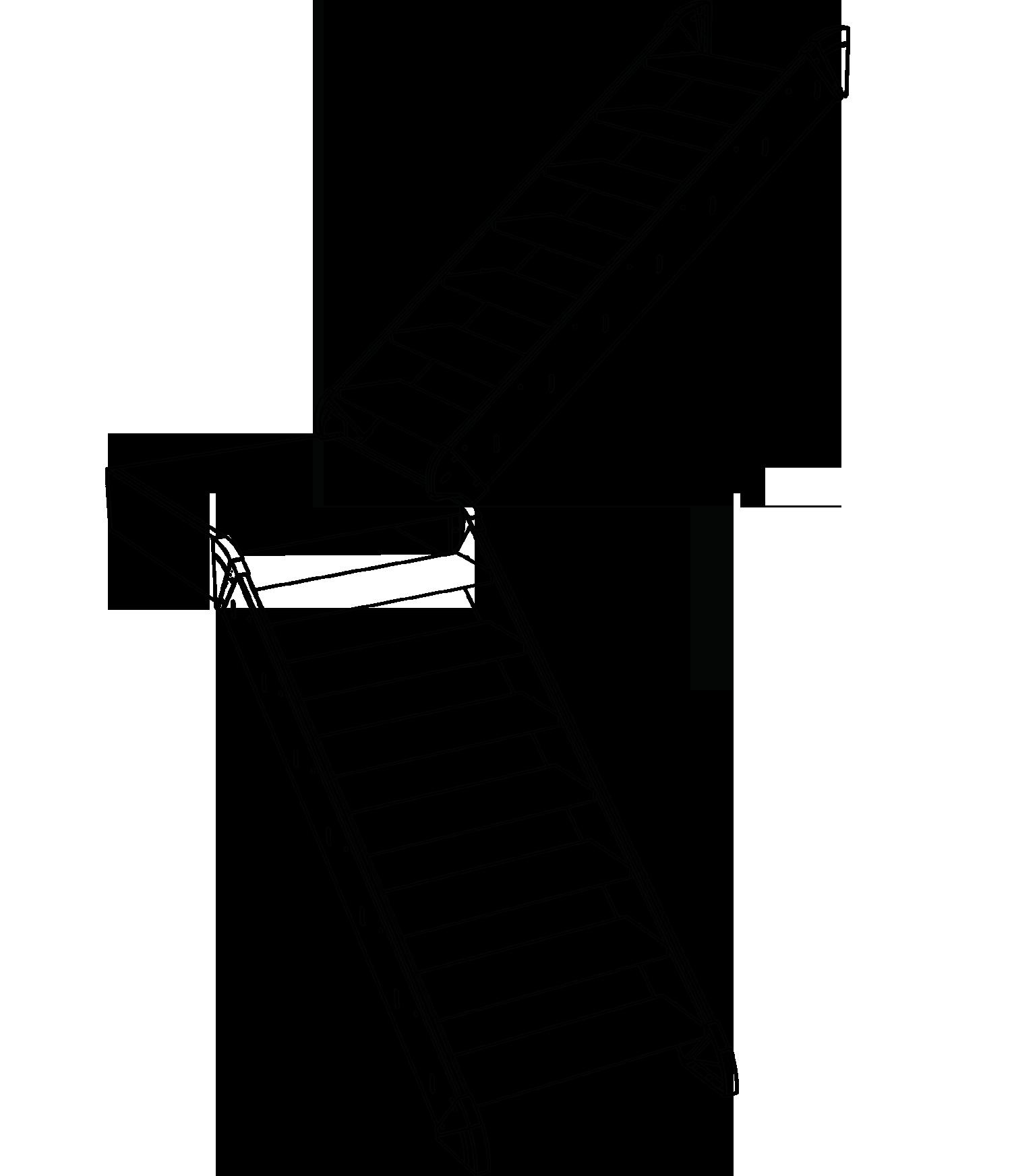 Gerade Treppe mit Viertelpodest